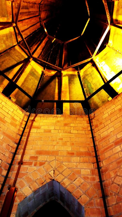 Church Spire. Inside an old church with copper spire stock photo