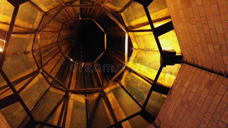 Church Spire. Inside an old church with copper spire stock photography