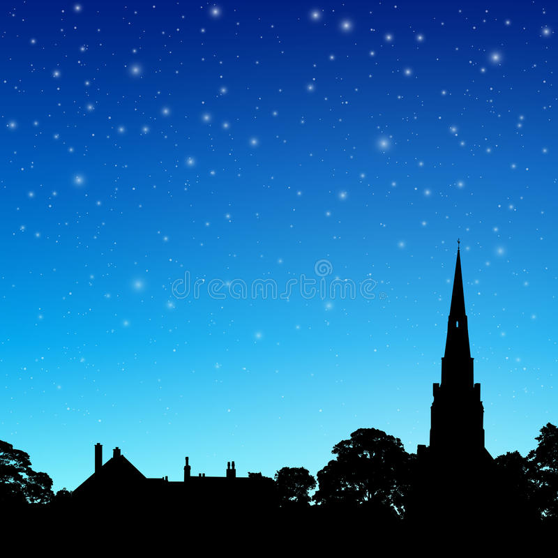 Free Church Spire With Night Sky Stock Images - 48120644