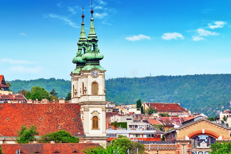 Church of St. Anne- Catholic church in Budapest, on the right ba royalty free stock image