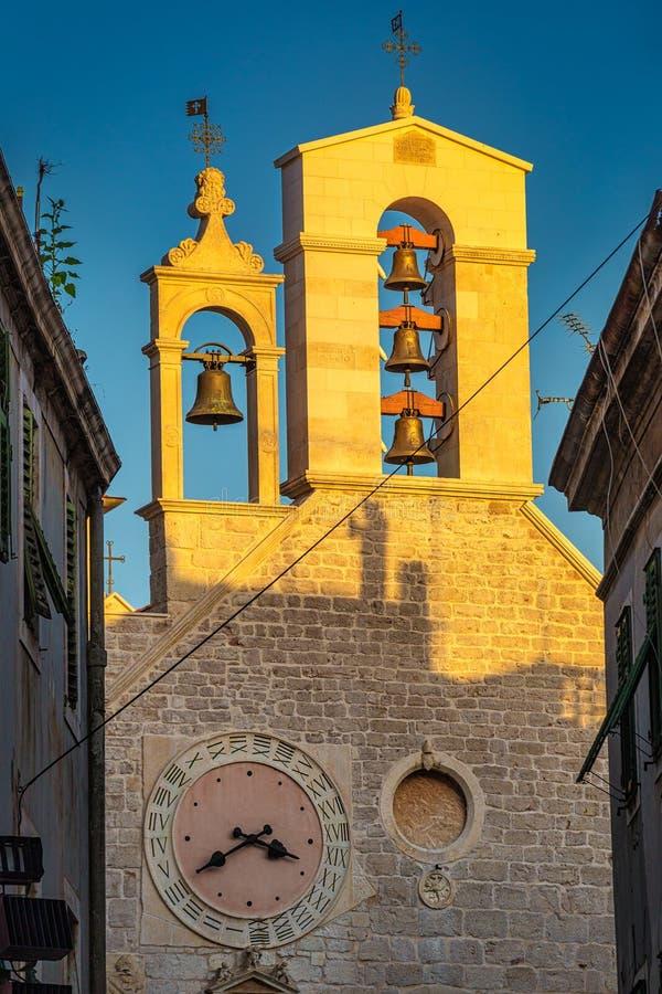 Church of St. Barbara in Sibenik at sunset, Croatia. Europe royalty free stock photography