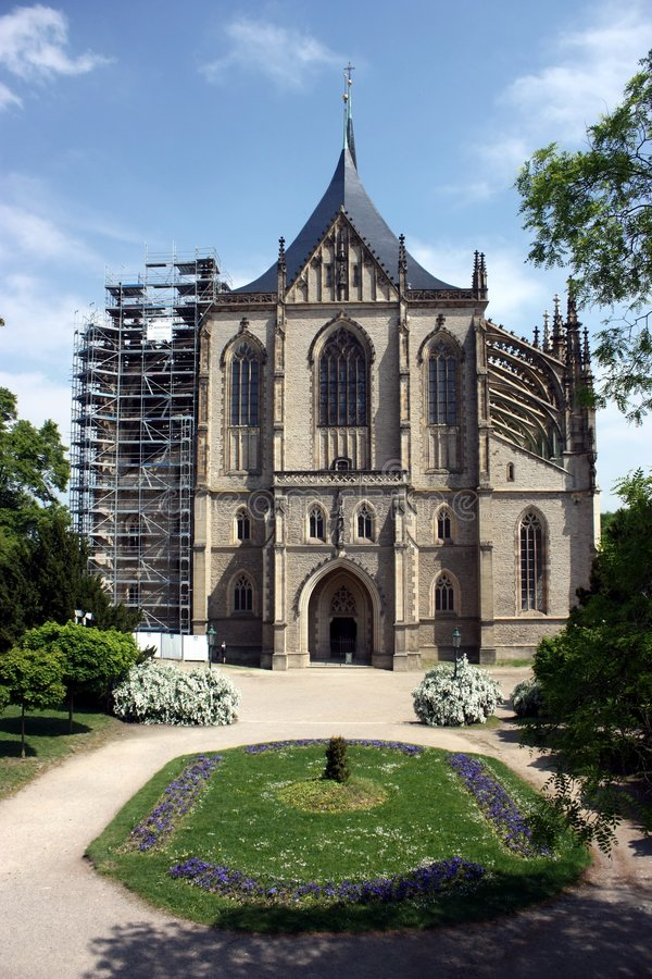 Church of st. Barbora in Kutna Hora. In Czech Republic under reconstruction stock images