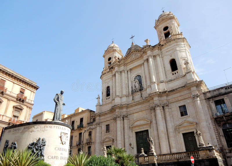 Church of St. Francis of Assisi to the Immaculate - Catania – Sicily. Church of St. Francis of Assisi to the Immaculate with statue – Baroque stock photos