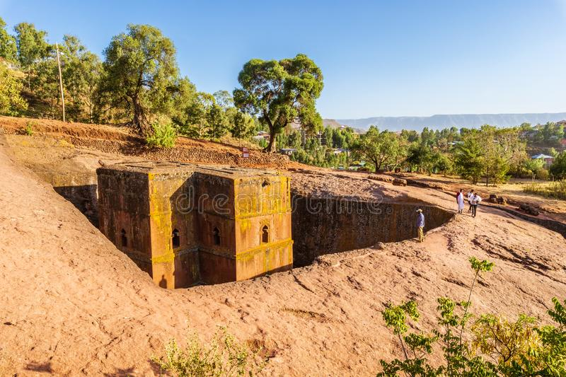 Church of St. George Bete Giyorgis, Lalibela, Ethiopia. Unique monolithic rock-hewn Church of St. George Bete Giyorgis, UNESCO World heritage, Lalibela, Ethiopia stock image