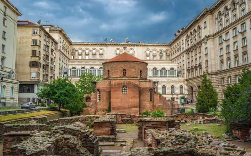 St George Rotunda Church Among The Ruins of The Ancient Town of Serdika, Sofia, Bulgaria stock photography