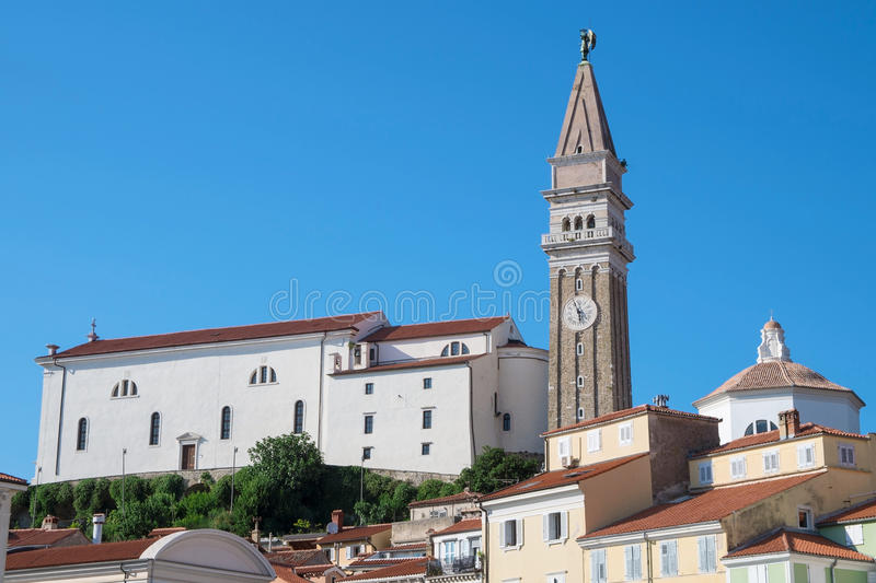 Church of St. George in Piran, Slovenia stock photo