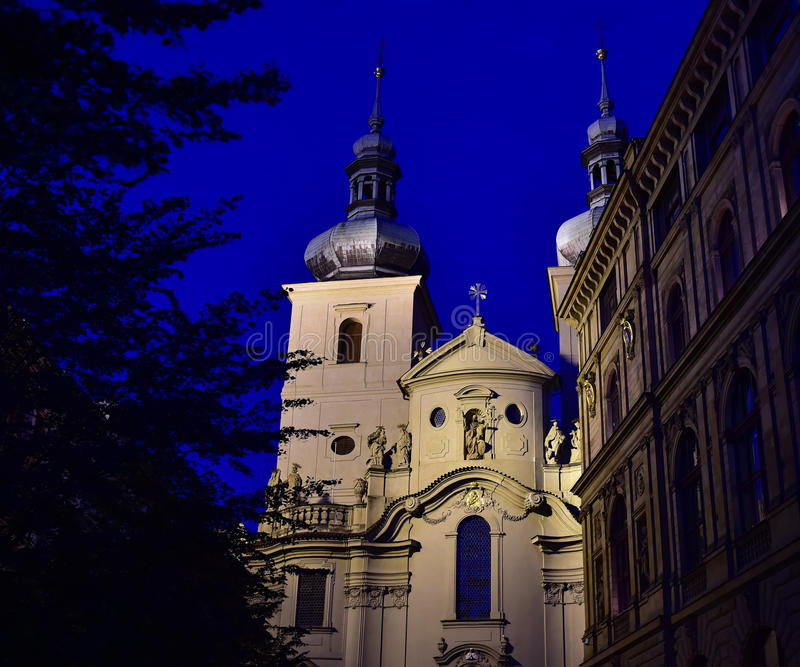 Church of St Havel - Prague. Church of St Havel - Kostel sv. Havla. Prague. Night view. The Church of St Havel, established by Wenceslas I in 1232, was one of stock photos