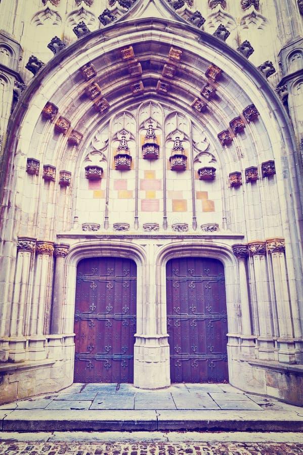 Church St.Hubert. Detail of Portal of the Gothic Church St.Hubert in Belgium, Instagram Effect stock photo