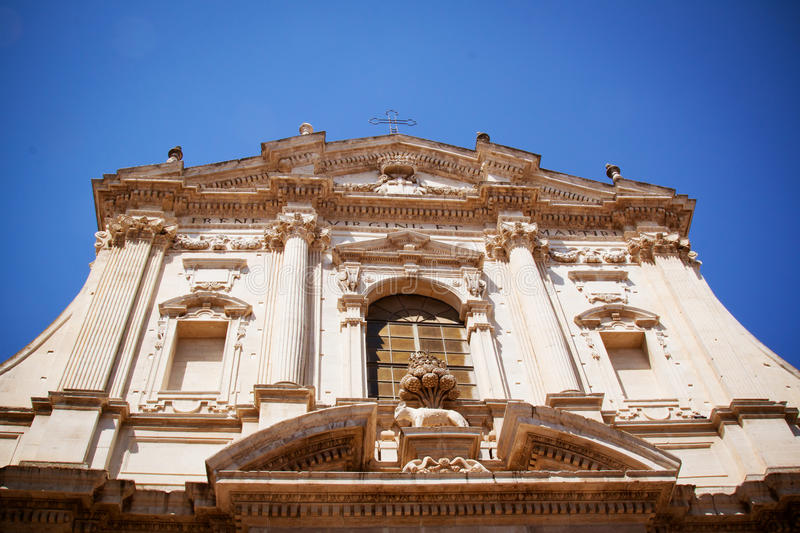Church of St Irene, Lecce, Italy. The facade of the Church of St Irene in Lecce, Italy royalty free stock image