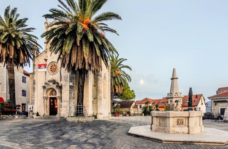Church of St. Jerome with square in. Herceg Novi, Montenegro. Church of St. Jerome with square in. Herceg Novi, Montenegro stock photos