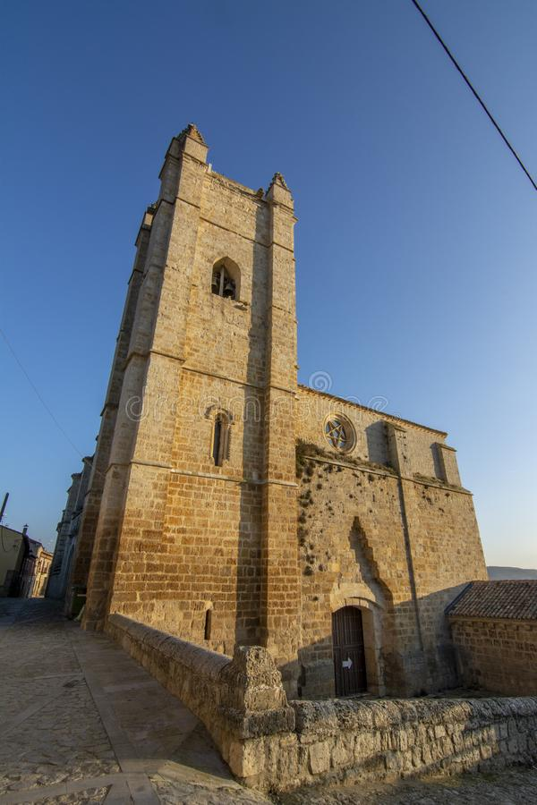 Church of St. John in Castrojeriz Burgos, Spain. Dates from the thirteenth century, with defensive tower stock photos