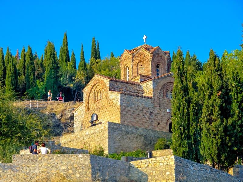 Church of St. John at Kaneo Ohrid Macedonia. This is a picture of the Church of St. John at Kaneo, Ohrid, Macedonia at sunset royalty free stock photography