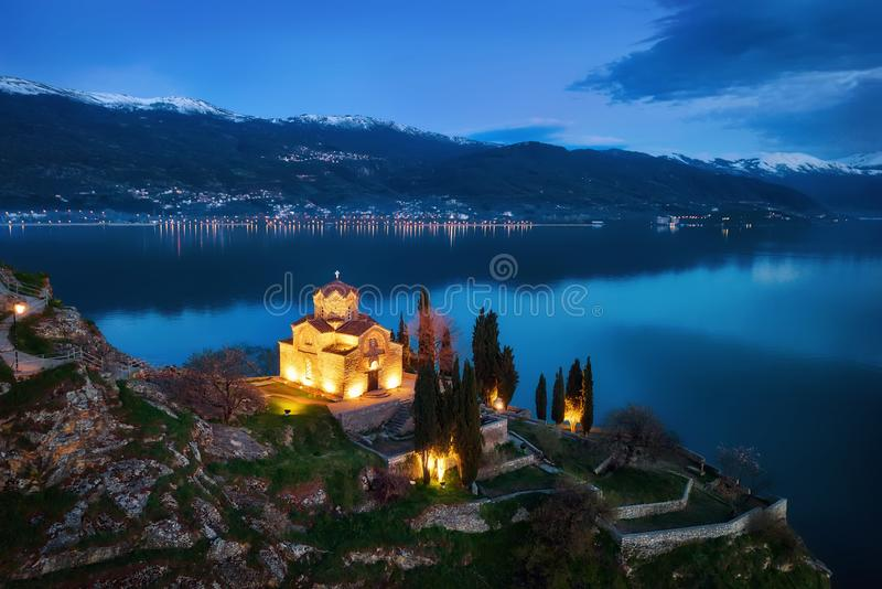 Church of St. John the Theologian -at Kaneo, Ohrid, Macedonia. Taken in 2015 stock photos