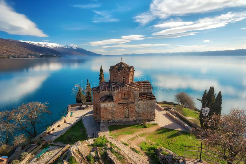 Church of St. John the Theologian -at Kaneo, Ohrid, Macedonia stock photos