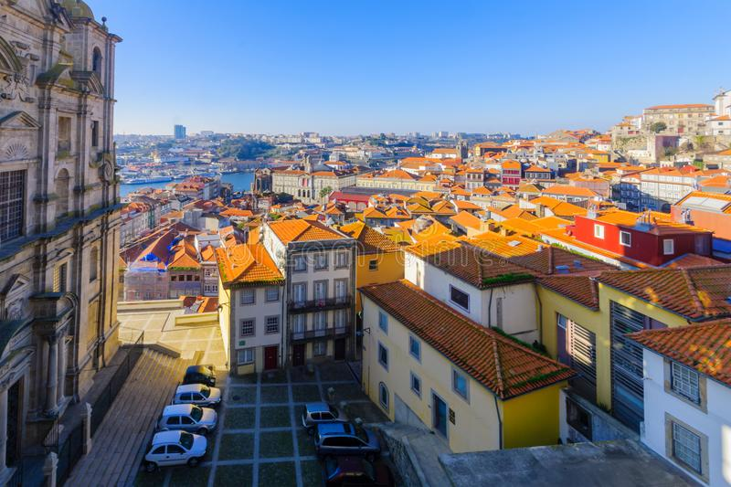 Church of St. Lawrence and the Douro river, Porto. View of the Church of St. Lawrence, the Douro river, and the old center of Porto, Portugal royalty free stock image