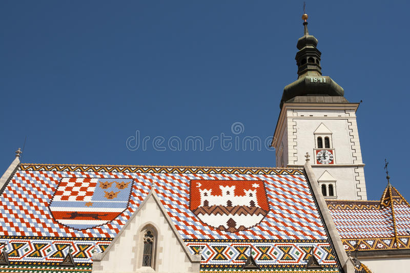 Church of St Mark, Zagreb. Croatia stock photos