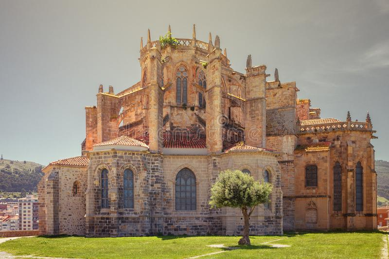 Church of St. Mary of the Assumption in Castro Urdiales, Cantabria, Spain. Church of St. Mary of the Assumption in Castro Urdiales, way of St. James, Cantabria stock image