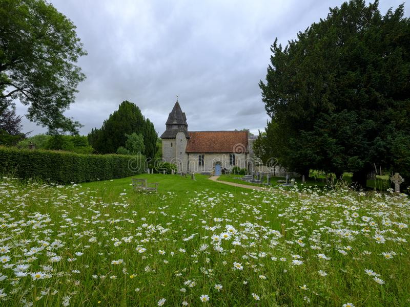 Church of St Mary, Easton, Hampshire, UK. Petersfield, UK - July 14, 2018: St George`s Church, Trotton, on the A272 near Rogate, South Downs, West Sussex, UK stock image