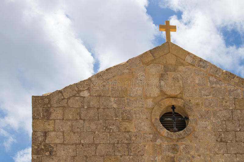 Church of St Mary Magdalen, Malta. St. Mary Magdalene Chapel was rebuilt on the cliff edge in the seventeenth century. Located in Dingli at the mediterranean stock images