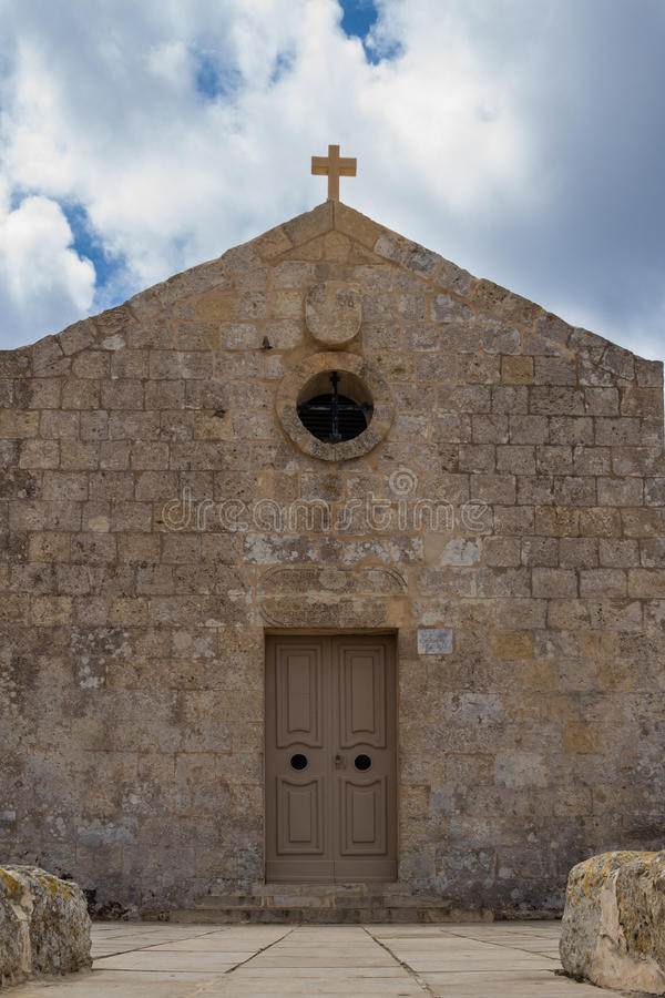Church of St Mary Magdalen, Malta. St. Mary Magdalene Chapel was rebuilt on the cliff edge in the seventeenth century. Located in Dingli at the mediterranean stock photos