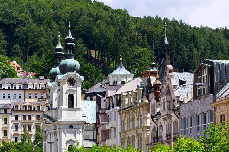 Church of St. Mary Magdalene in spa town Karlovy Vary. Czech Republic, National Cultural Monument stock images