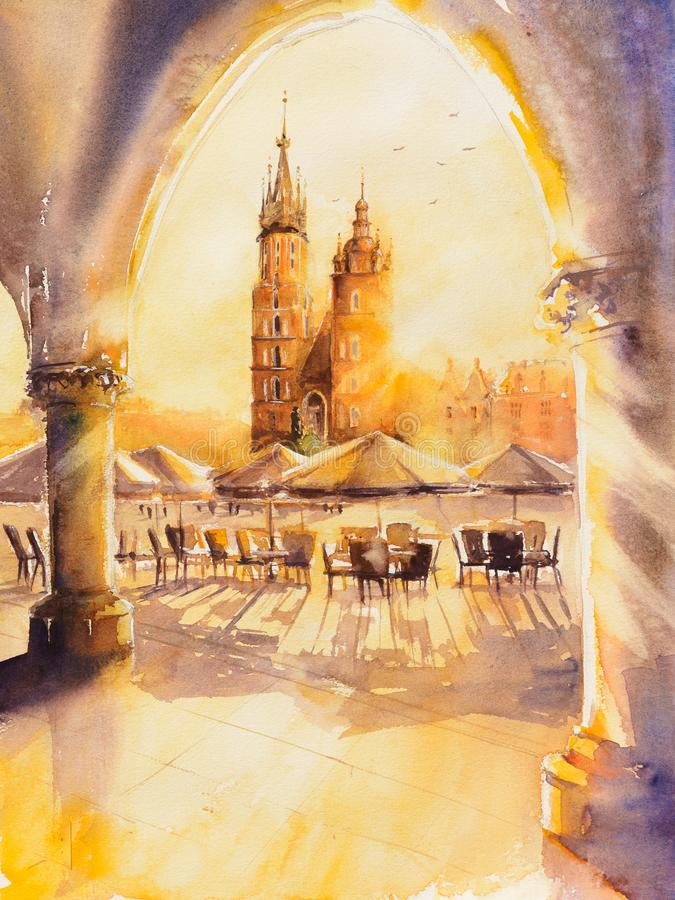 Krakow at sunrise. Church of St. Mary in the main Market Square at sunrise. Picture created with watercolors stock illustration