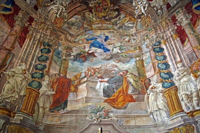 Church of St.Mary s Assumption,Samobor,Croatia,14. Church of St Mary s Assumption Samobor Croatia Europe,central altar wall painting by Franjo Jelovsek,12 stock images