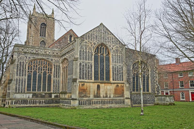 The Church of St Michael Coslany with remarkable display of 15th Century decorative flint and stonework. Norwich, Norfolk, UK stock photography
