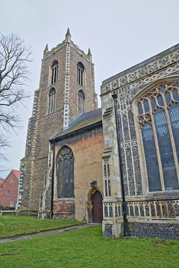 The Church of St Michael Coslany with remarkable display of 15th Century decorative flint and stonework. Norwich, Norfolk, UK stock image