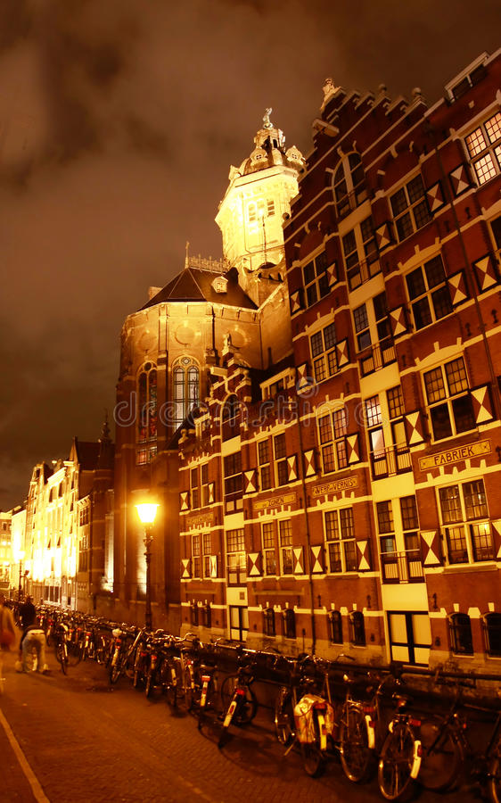 The Church of St. Nicholas in Amsterdam stock image