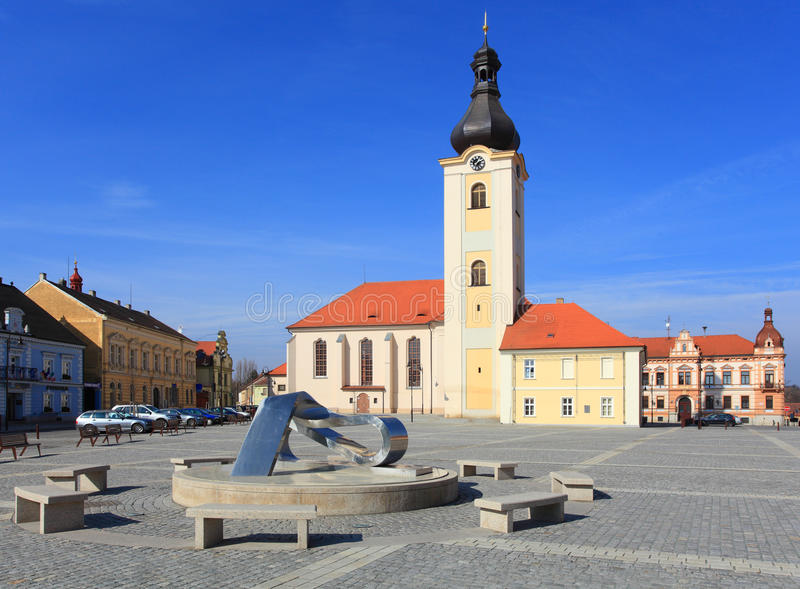 Church of St. Nicholas in Dobrany City. Famous landmark. Baroque church of St. Nicholas on T.G.M. Square in Dobrany City, Czech Republic, Europe royalty free stock photos