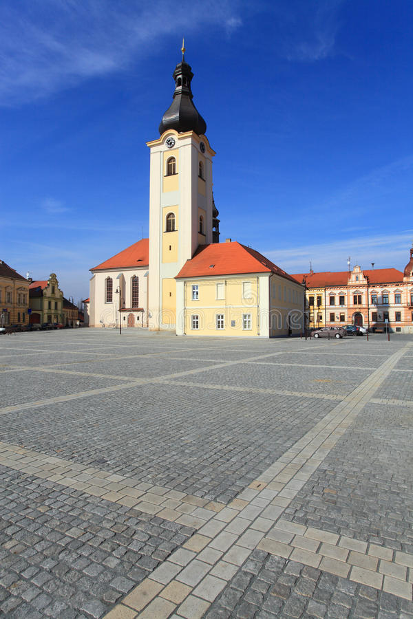 Church of St. Nicholas in Dobrany City. Famous landmark. Baroque church of St. Nicholas on T.G.M. Square in Dobrany City, Czech Republic, Europe stock images