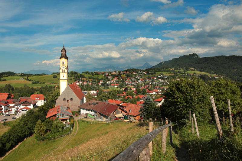 Church St Nikolaus of Pfronten in the bavarian alps royalty free stock image