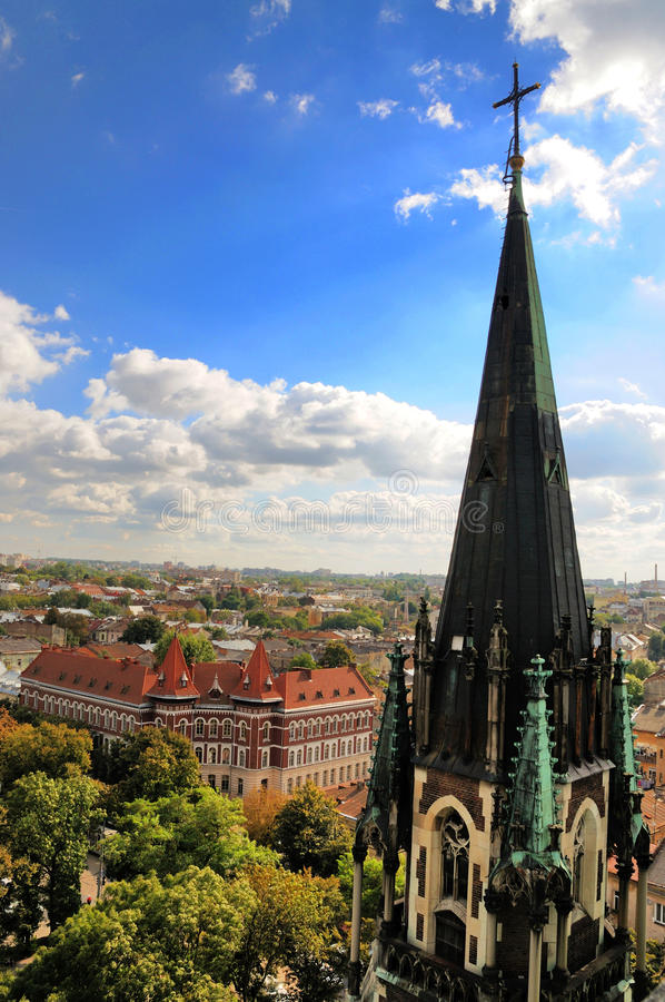 Church of St. Olha and Elizabeth in Lviv City stock image