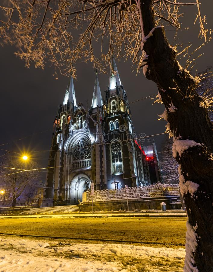 Church of St. Olha and Elizabeth in night winter Lviv city, Ukraine stock images