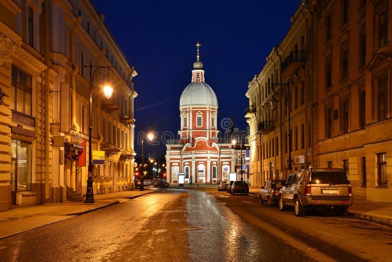 Church of St. Panteleimon. View Church of St. Panteleimon with Pestel Street stock image
