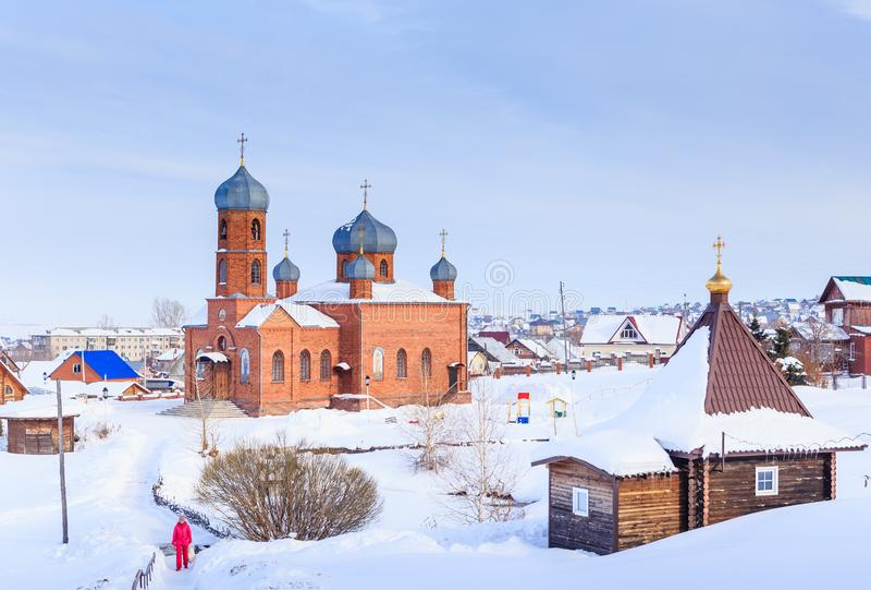 Church of St. Panteleimon the Healer and Bath. Belokurikha. Altai, Russia royalty free stock images