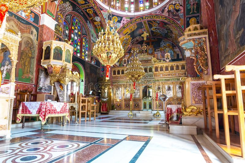 Church of St. Panteleimon interior in Siana village, Rhodes, Greece stock image