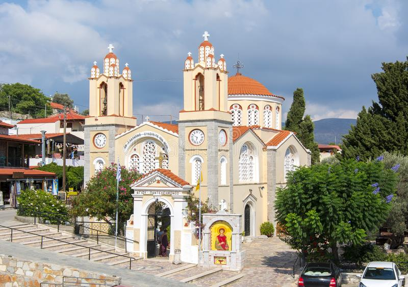 Church of St. Panteleimon in Siana, Rhodes island, Greece stock photography