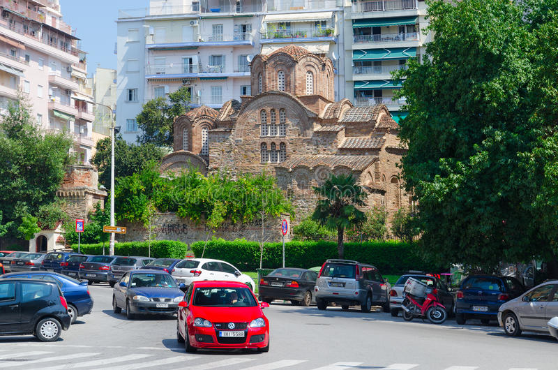 Church of St. Panteleimon, Thessaloniki, Greece. THESSALONIKI, GREECE - AUGUST 13, 2014: Church of St. Panteleimon. In 1988 as part of early Christian and royalty free stock photos