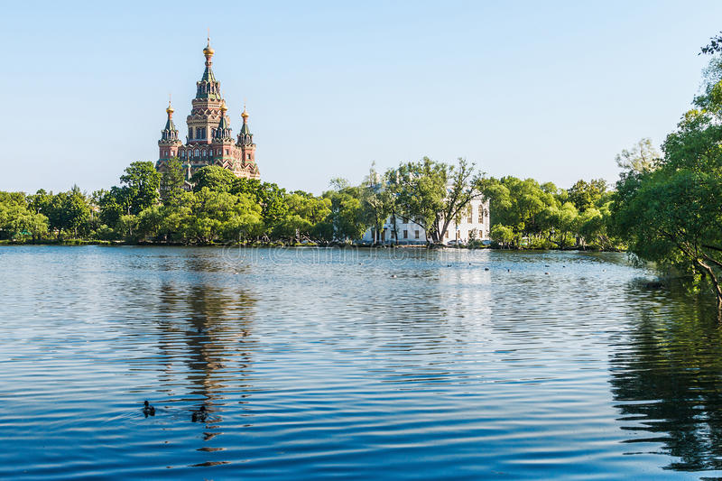 Church of St. Peter and Paul in the early morning. Peterhof, Saint Petersburg, Russia royalty free stock photos
