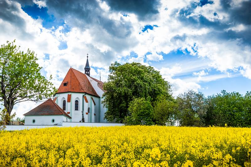 Church of st. Prokop near Temelin in summer day. Czech Republic.  stock images