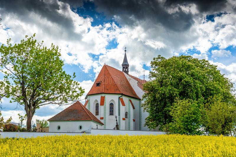Church of st. Prokop near Temelin in summer day. Czech Republic.  stock photos