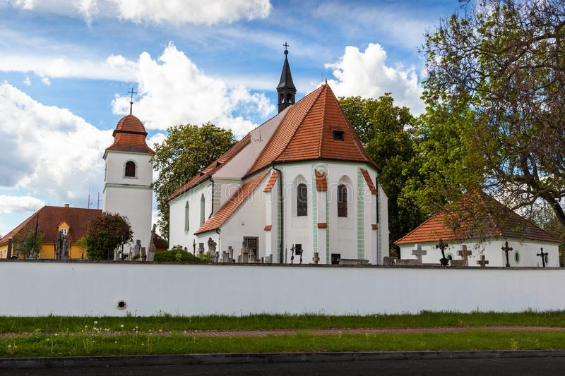 Church of st. Prokop near Temelin in summer day. Czech Republic.  stock photography
