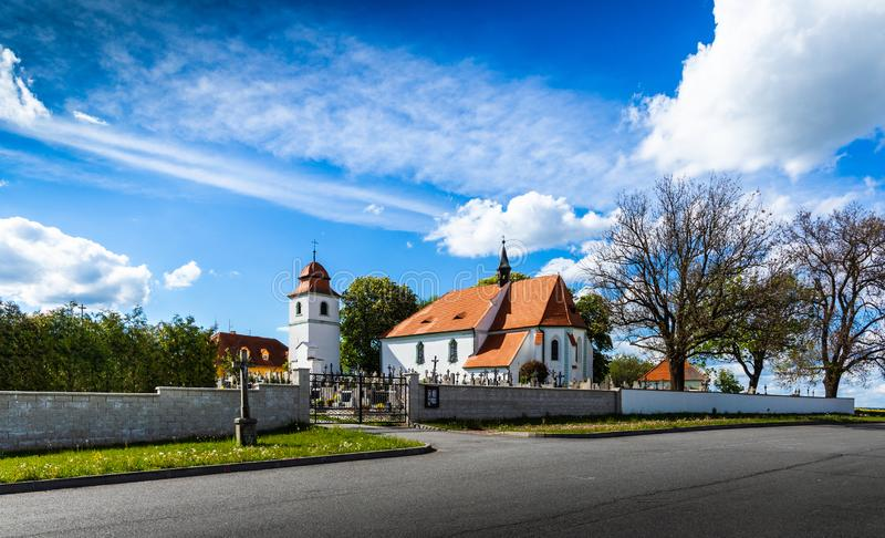 Church of st. Prokop near Temelin in summer day. Czech Republic.  royalty free stock photo