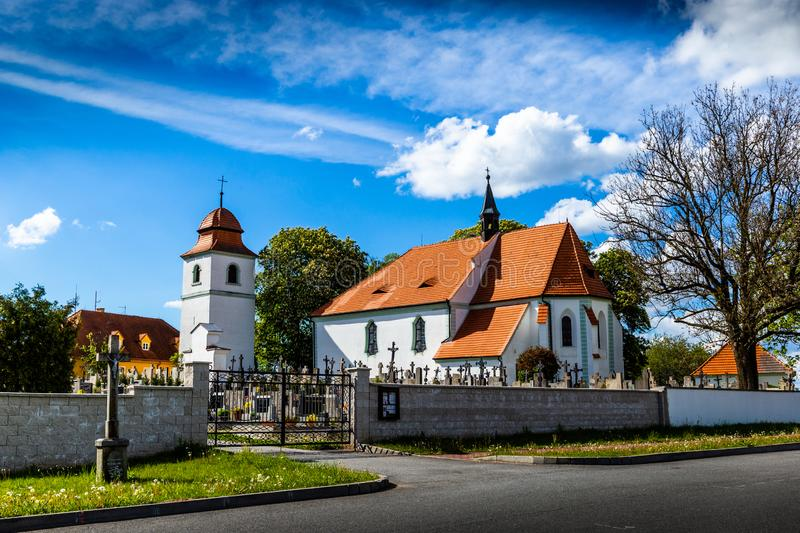 Church of st. Prokop near Temelin in summer day. Czech Republic.  royalty free stock photography