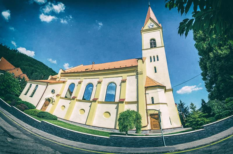 Church of St. Stephen in Trencianske Teplice, analog filter. Church of St. Stephen in Trencianske Teplice, Slovak republic. Panoramic photo. Religious royalty free stock photography