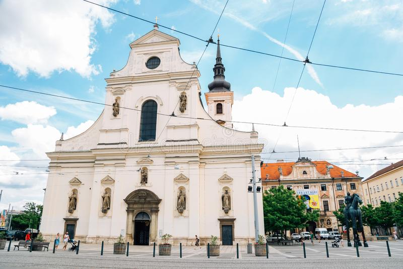 Church of St. Thomas and Moravian Gallery in Brno, Czech Republic stock photography