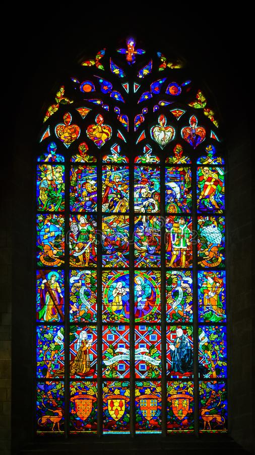 Church stained glass. Josselin, beautiful village of French Brittany royalty free stock images