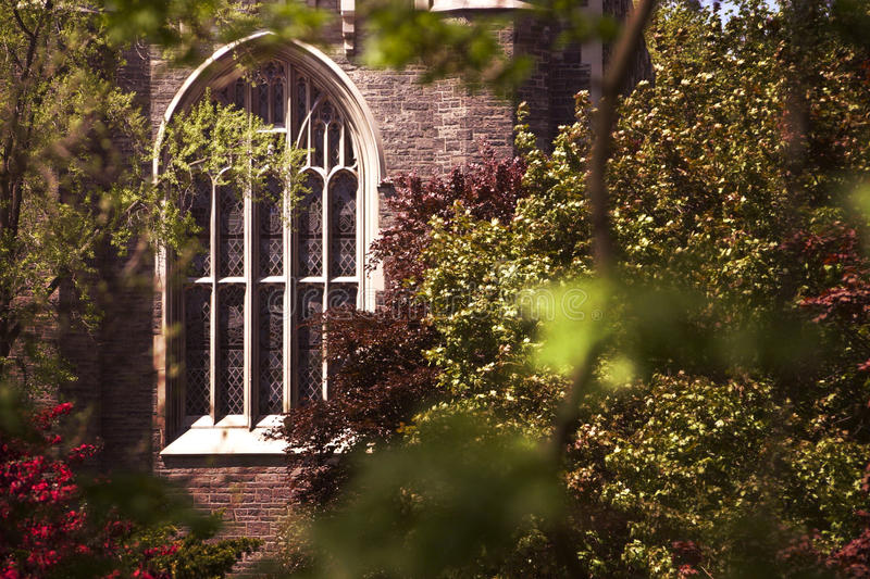 Church Stained Glass Window Through The Trees royalty free stock photos